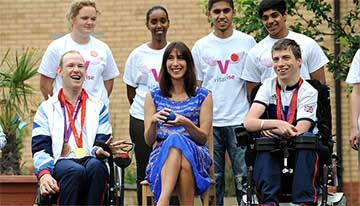 samantha cameron playing boccia