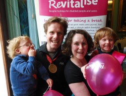 Team Revitalise participant Mike who took part in the 2016 London Marathon and his family