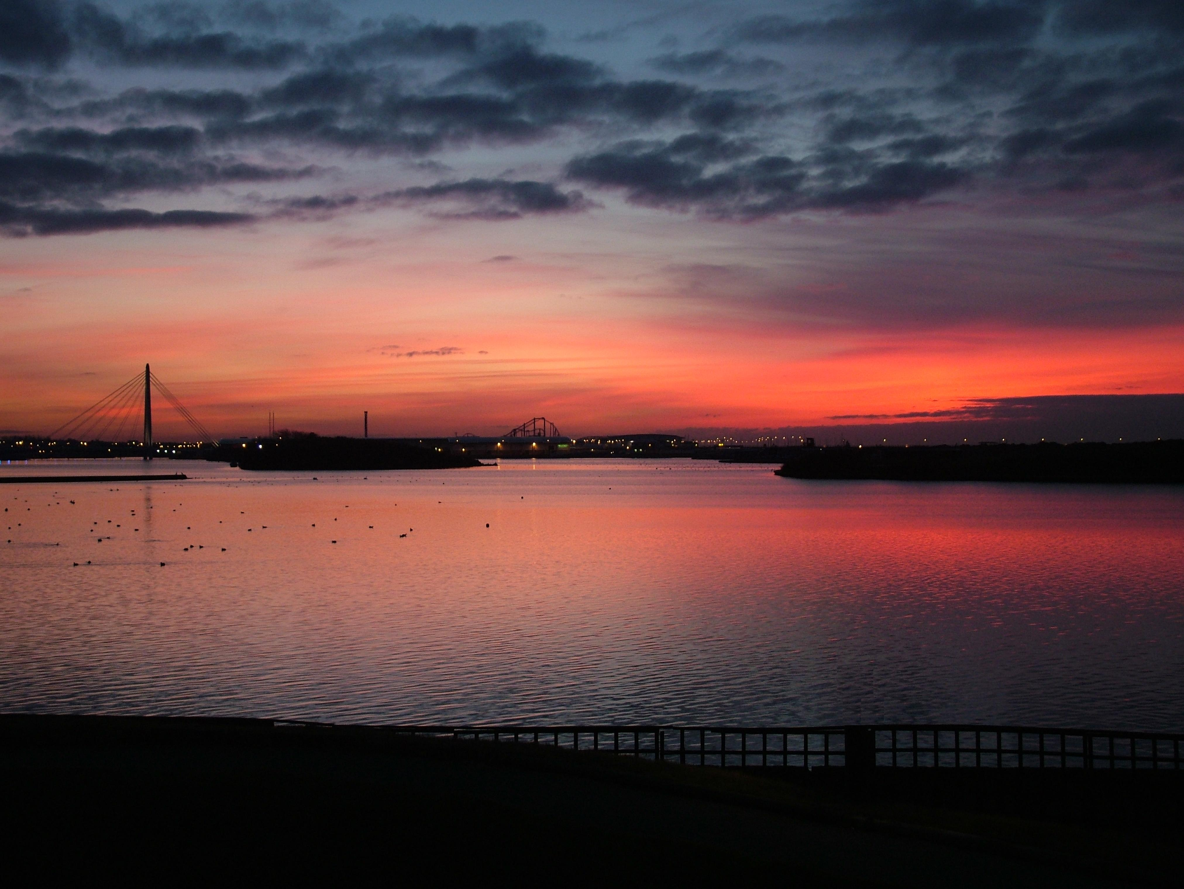 Picturesque view of Southport Marina at sunset