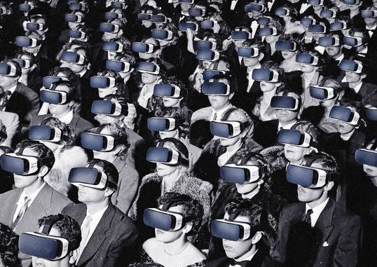 Black and white vintage audience wearing VR headset