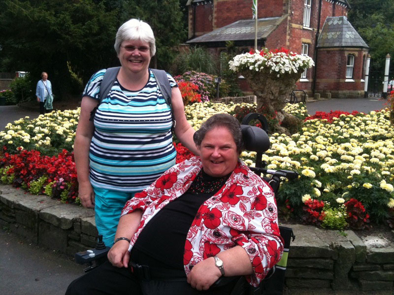 Sharon and Shirley enjoying the beautiful blooms at the Botanic Gardens, Southport