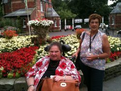 Shirley with Revitalise volunteer and friend, Linda.