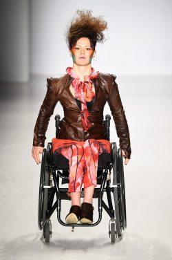 Disabled models took to the catwalk in the FTL Moda 2015 autumn fashion show in NYC.